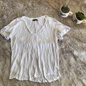 Zara White Short Sleeve V Neck Medium